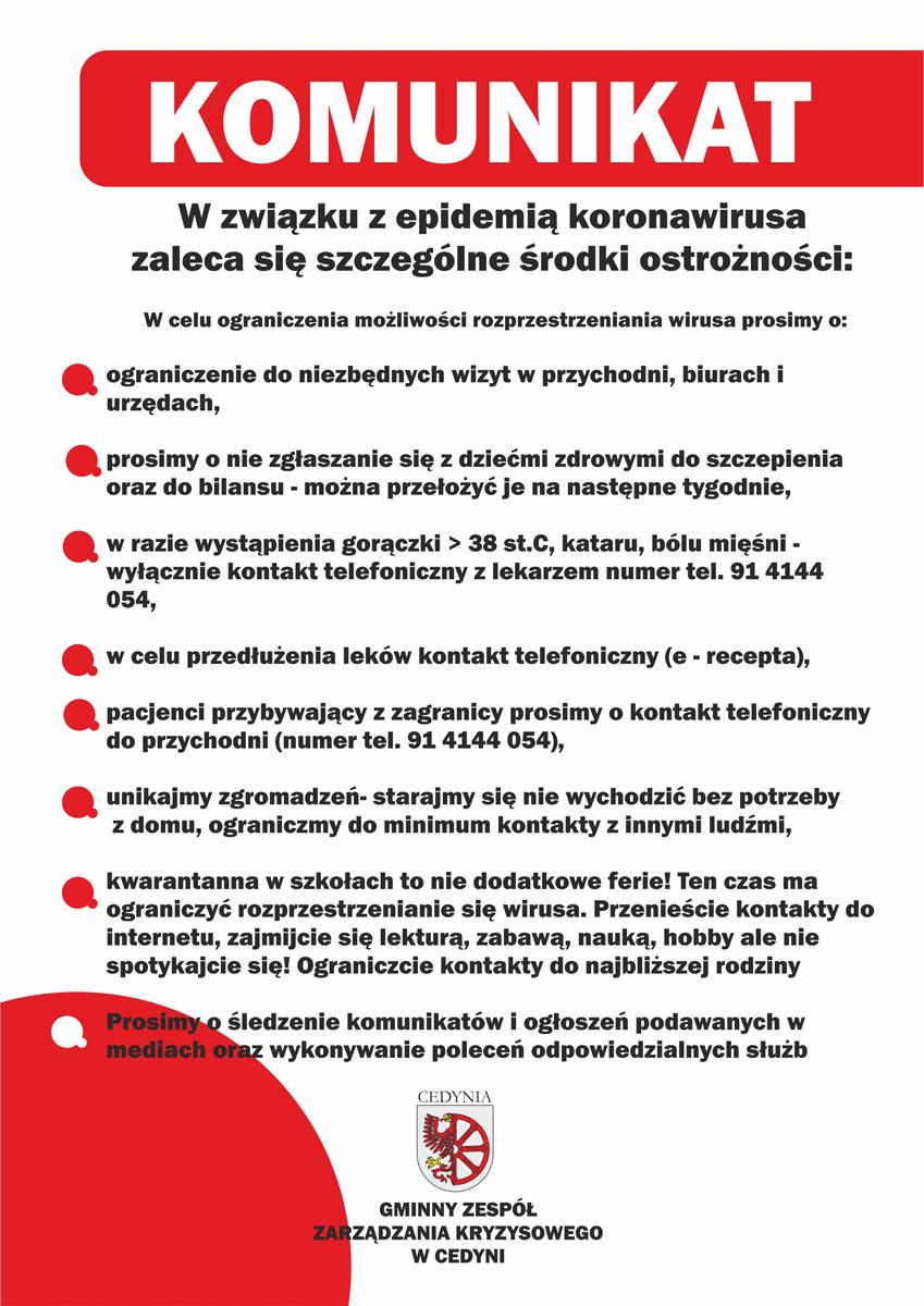 Komunikat dotyczący koronawirusa