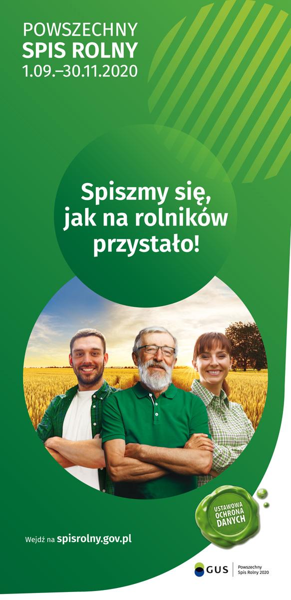 Plakat Powszechnego Spisu Rolnego, który odbywa się w dniach od 1 września do 30 listopada 2020 roku
