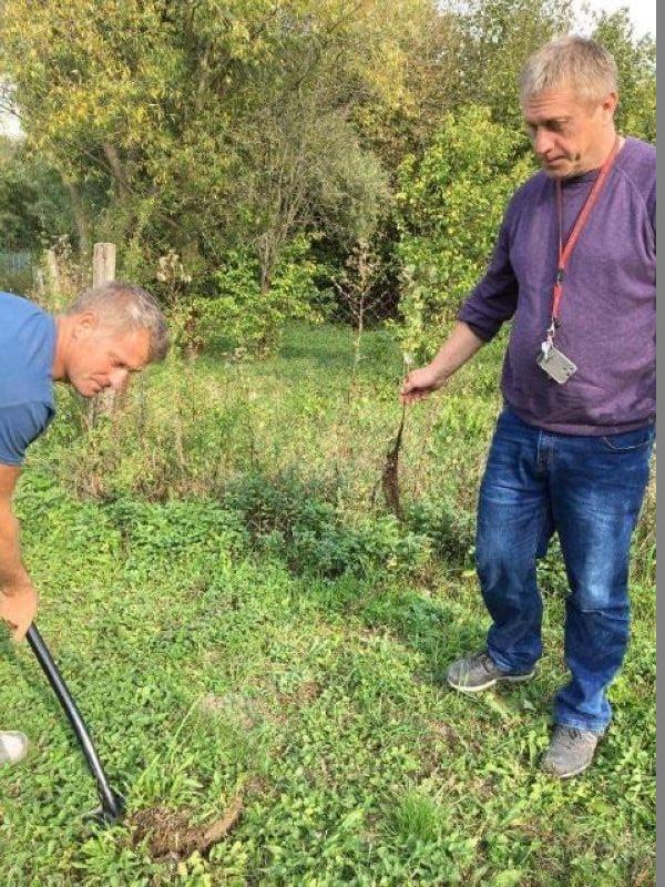 Mieszkańcy Lubiechowa Górnego sadzą drzewka.