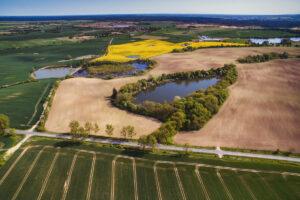 Zdjęcie przedstawia krajobraz cedyńskich terenów, jeziora i pola uprawne