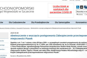 Zrzut ekranu strony www Zachodniopomorskiego Urzędu Wojewódzkiego