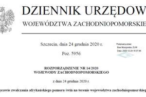 Rozporządzenie nr 14 Wojewody Zachodniopomorskiego
