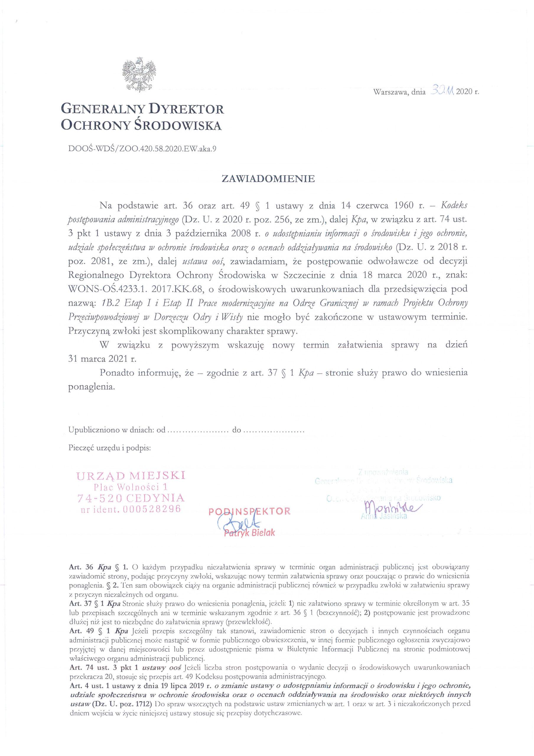 Projekt ochrony przeciwpowodziowej w dorzeczu Odry i Wisły - nowy termin załatwienia sprawy do 31 marca 2021 r.