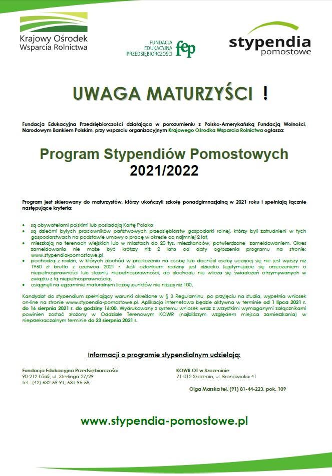 Plakat Stypendia Pomostowe 2021 r