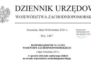 rozporzadzenie nr 12 2021 odstrzał sanitarny