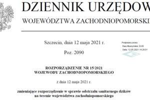 Rozporządzenie nr 15 Wojewody Zachodniopomorskiego z dnia 12 maja 2021 r