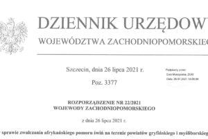 Rozporządzenie nr 22 2021 Wojewody Zachodniopomorskiego z dnia 26.07