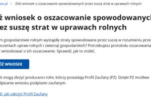 Złóż wniosek o oszacowanie spowodowanych przez suszę strat w uprawach rolnych - Gov pl