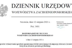 ROZPORZĄDZENIE NR 23/2021 WOJEWODY ZACHODNIOPOMORSKIEGO