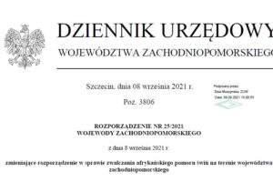 Rozporządzenie nr 25 2021 Wojewody Zachodniopomorskiego z dnia 8-09-2021